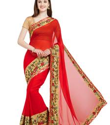 Buy red designer embroidered patch stone and beautiful floral design georgette saree with blouse heavy-work-saree online
