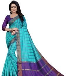 Buy Sky blue woven silk saree with blouse ikat-saree online
