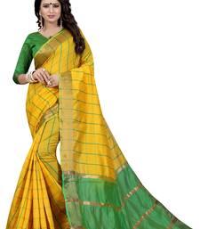 Buy Yellow woven silk saree with blouse ikat-saree online