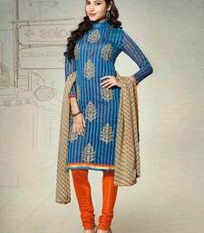 Buy blue embroidered chanderi unstitched  salwar with dupatta multicolor-salwar-kameez online