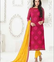 Buy magenta embroidered chanderi unstitched  salwar with dupatta multicolor-salwar-kameez online