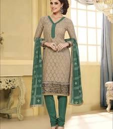 Buy brown embroidered chanderi unstitched  salwar with dupatta multicolor-salwar-kameez online