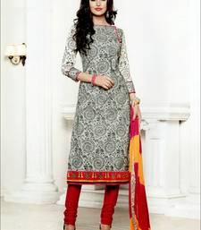 Buy White embroidered cotton unstitched  salwar with dupatta multicolor-salwar-kameez online