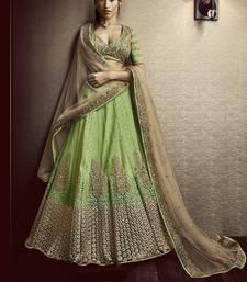 Buy Green sequins net unstitched lehenga ethnic-lehenga online