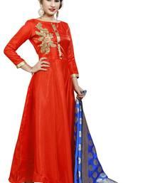 Buy Red embroidered silk salwar salwar-kameez online