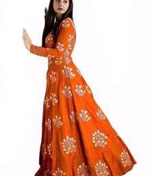 Buy Orange embroidered silk salwar anarkali-salwar-kameez online