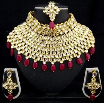 Charming Jewelry Pearl Kundan Choker Bridal Necklace Earrings Tikka 4pc Set