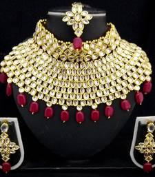 Buy Charming Jewelry Pearl Kundan Choker Bridal Necklace Earrings Tikka 4pc Set necklace-set online
