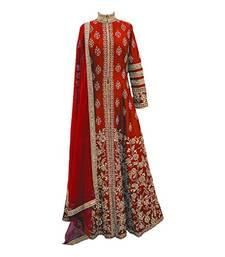 Buy Dark-blood-red embroidered faux georgette salwar anarkali-salwar-kameez online