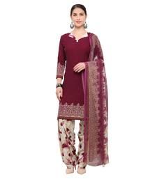 Buy Wine digital print crepe salwar crepe-salwar-suit online