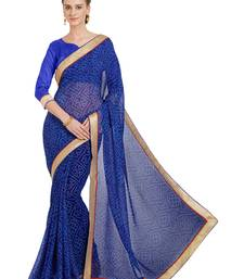 Buy Blue printed faux georgette saree with blouse faux-saree online
