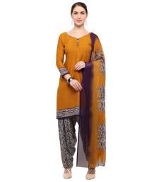 Buy Mustard digital print crepe salwar crepe-salwar-suit online