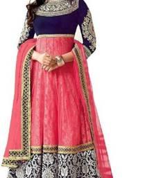 Buy Multicolor embroidered net salwar anarkali-salwar-kameez online
