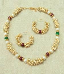 Buy Beautiful White Pearl Antique Delicate Bandani Wedding Bridal Necklace Set necklace-set online