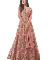 Buy Peach Color embroidered Work designer net-salwar-suits net-salwar-suit online