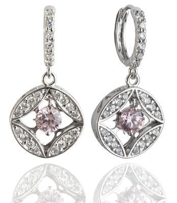 Pink & Rhodium Polish Plated Earrings