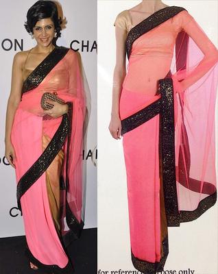 pink - cream  plain chiffon saree with blouse