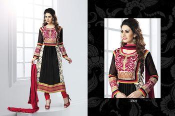 Multicolor printed georgette semi-stitched salwar with dupatta
