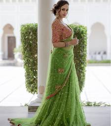 Buy Green embroidered nylon saree with blouse designer-embroidered-saree online