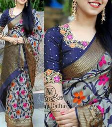 Buy Grey printed silk blend saree with blouse printed-saree online