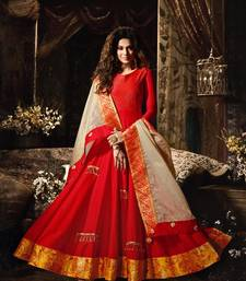 Buy Red lace satin salwar anarkali-salwar-kameez online