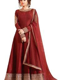 Buy Maroon embroidered silk semi stitched salwar suit with dupatta women-ethnic-wear online