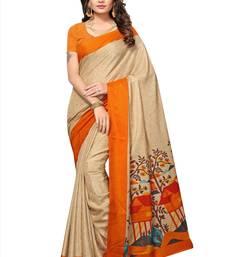 Buy Beige printed manipuri silk saree with blouse manipuri-silk-saree online
