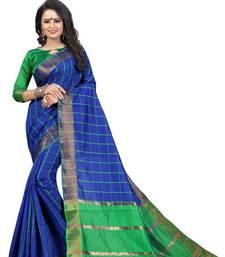 Buy Blue woven cotton silk saree with blouse ikat-saree online