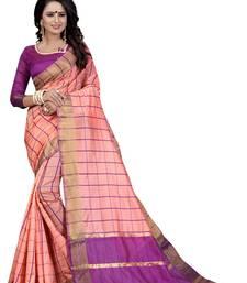 Buy Pink woven cotton silk saree with blouse ikat-saree online