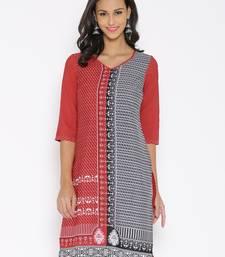 Buy Aurelia Womens Red Printed Polyester Kurti kurtas-and-kurtis online