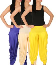 Buy Blue and Cream and Yellow plain Lycra free size combo patialas pants patiala-combo online