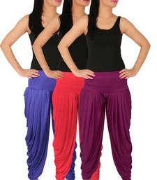 Buy Blue and Pink and Purple plain Lycra free size combo patialas pants patiala-combo online