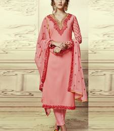 Buy Peach embroidered georgette semi stitched salwar with dupatta straight-suit online