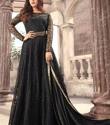 Buy Black embroidered net anarkali semi stitched salwar with dupatta anarkali-salwar-kameez online