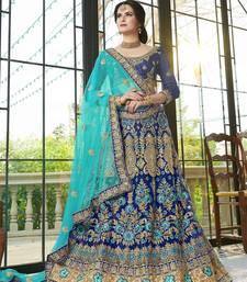 Buy Blue embroidered net semi stitched lehenga ethnic-lehenga online