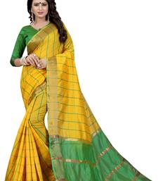 Buy Yellow woven cotton silk saree with blouse ikat-saree online