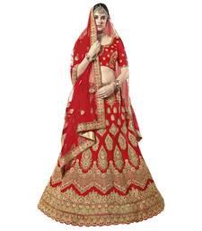 Buy Red embroidered art silk unstitched lehenga bridal-lehenga online