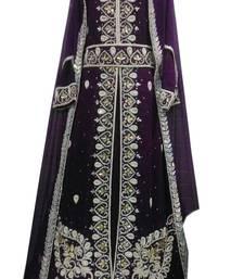 Buy Purple zari stone work georgette islamic style gown beads embedded partywear farasha farasha online
