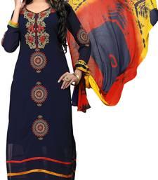Buy Navy-blue embroidered faux georgette salwar silk-georgette-salwar online