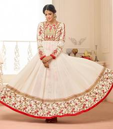 Buy Off-white embroidered georgette salwar anarkali-salwar-kameez online