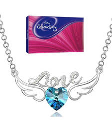 Buy Valentine Special Angel Wings Blue Heart Necklace with celebration valentine-gift online
