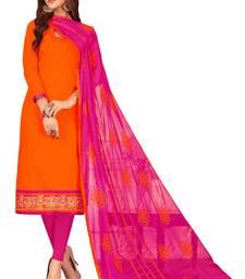 Buy Orange embroidered cotton salwar dress-material online