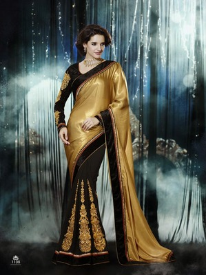 Black - Gold embroidered crepe saree with blouse