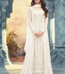Buy White embroidered georgette semi stitched salwar with dupatta pakistani-salwar-kameez online