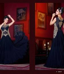 Buy Navy Blue Embroidered Georgette unstitched salwar with dupatta dress-material online