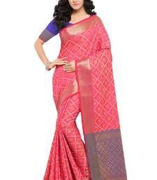 Buy Pink woven patola saree with blouse patola-saris online