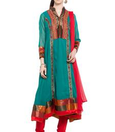 Buy Green embroidered georgette salwar plus-size-salwar online