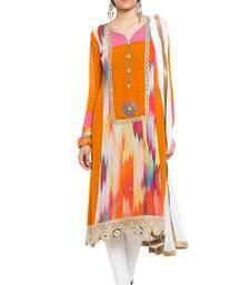 Buy Orange printed georgette salwar readymade-suit online