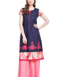 Buy Chhabra 555 Navy Blue & Pink  Coloured  Embroidered Cotton Stitched Straight Kurta party-wear-kurtis online