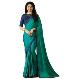 Buy Dark sky blue printed georgette saree with blouse bollywood-saree online